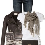 Crochet Triangle Scarf Casual Fall Outfit