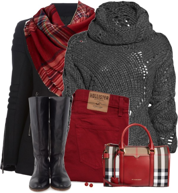 peacoat and plaid scarf fall outfit outfitspedia
