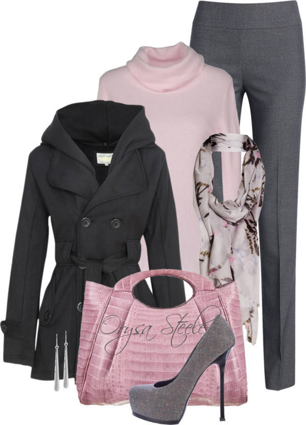 pink and grey fall work outfit outfitspedia