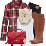 Red Plaid Shirt, Knit Scarf and Riding Boots Outfit