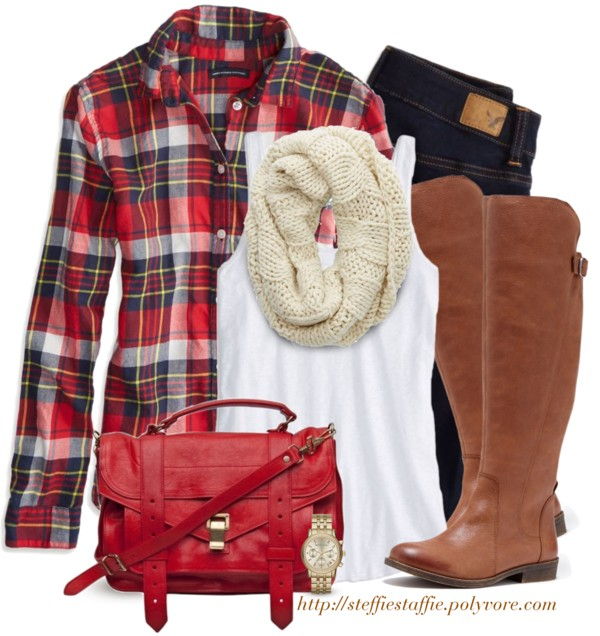 red plaid shirt, knit scarf and riding boots outfit outfitspedia
