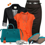 Vibrant Teal and Orange Work Outfit Combination