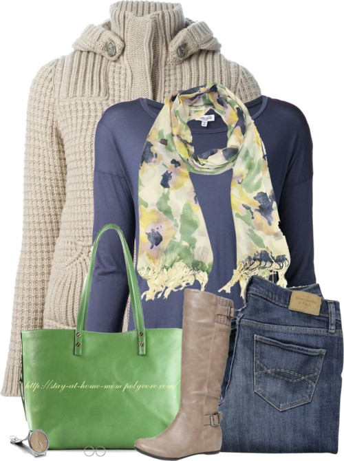 Abstract Floral Scarf Fall Outfit outfitspedia