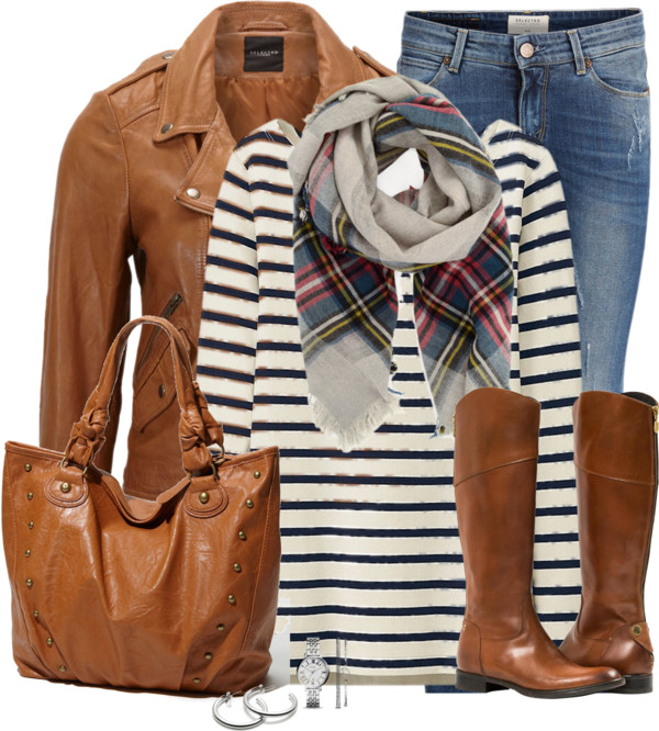 Biker Look Leather Jacket Casual Fall Outfit outfitspedia