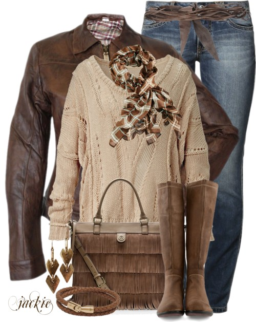 Brown Ladies Leather Jacket Outfit outfitspedia