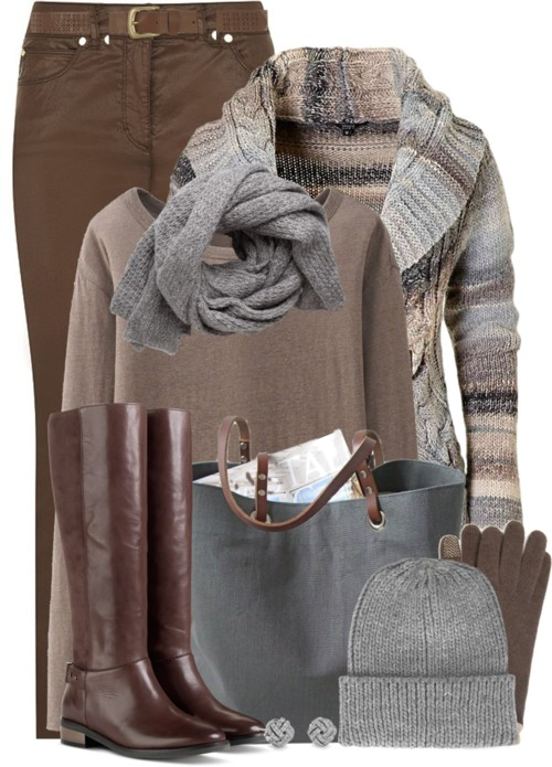 Brown and Grey Warm Fall Outfit outfitspedia