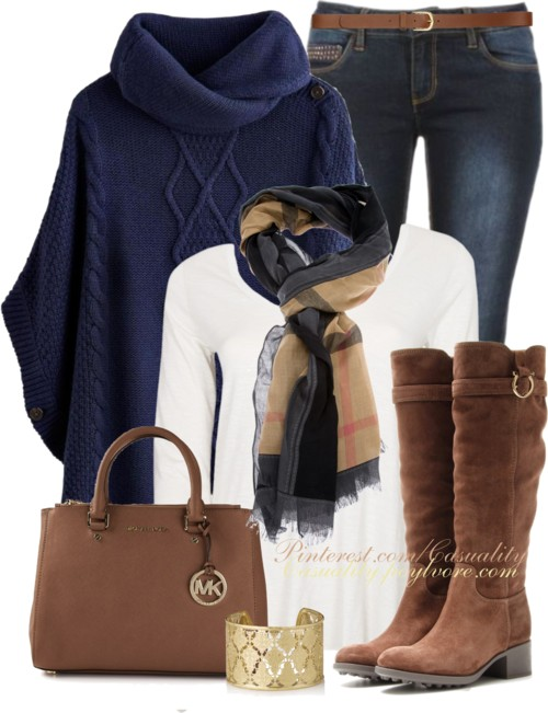 Burberry Haymarket & Navy Poncho Sweater Outfit outfitspedia