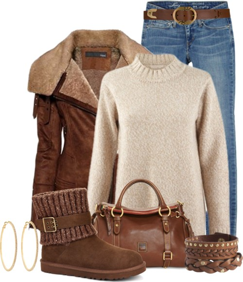 Casual Brown Aviator Jacket Winter Outfit outfitspedia