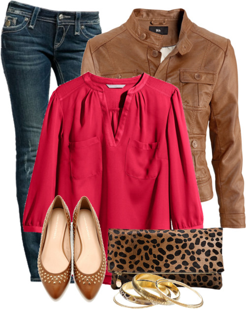 Casual Outfit With Imitation Leather Jacket outfitspedia