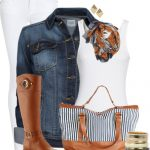 Casual Striped Bag Fall Outfit