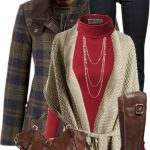 Chunky Wrap Cardigan With Plaid Coat Outfit