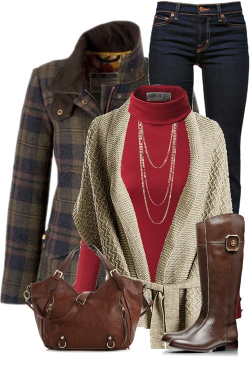 Chunky Wrap Cardigan With Plaid Coat Outfit outfitspedia