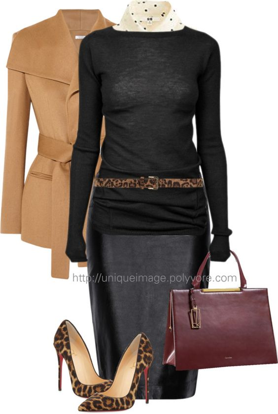 Classy Black And Leopard Work Outfit outfitspedia
