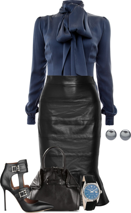 Classy Elegant Fluted Leather Skirt Outfit outfitspedia