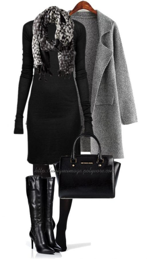 Classy Fall Outfit in Black and Grey outfitspedia