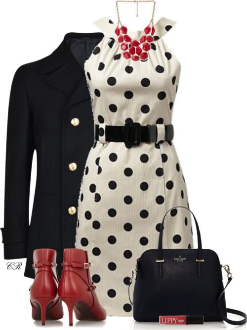 Coin Spot Belt Dress Fall Outfit outfitspedia