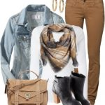 Colored Jeans & Denim Jacket Casual Fall Outfit