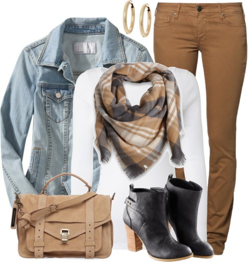 Colored Jeans & Denim Jacket Casual Fall Outfit outfitspedia