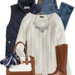 Cotton Cable Knit Sweater Casual Fall Outfit