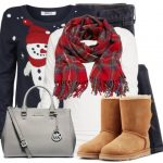Cute Snowman Christmas Sweater Winter Outfit