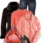 Dark Brown Shearling Jacket With Coral Color Outfit Combination