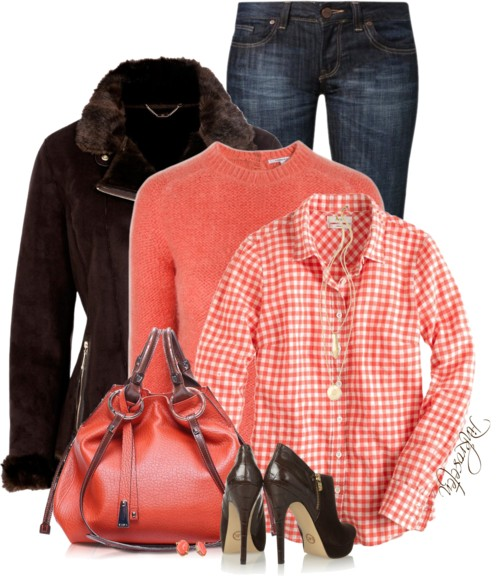Dark Brown Shearling Jacket With Coral Color Outfit Combination outfitspedia