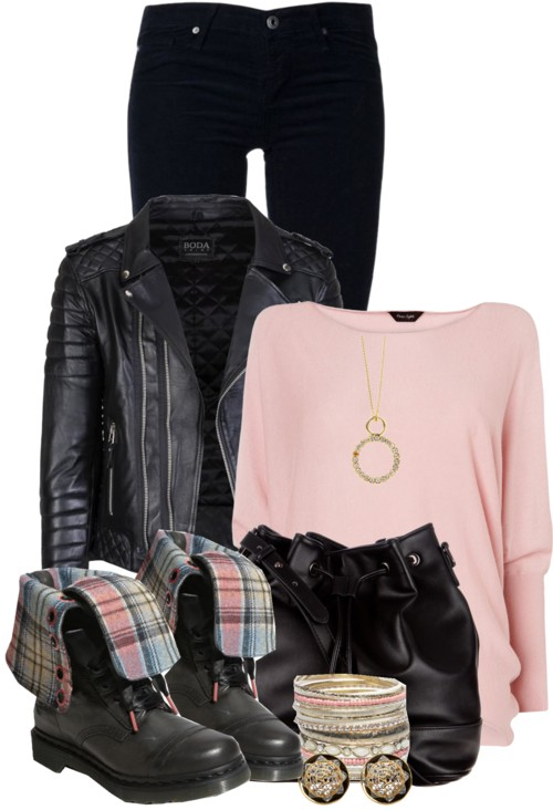 Dr Martens fold over boots pink and black outfit outfitspedia