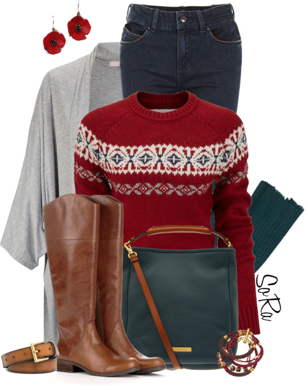 Fairisle Crew Neck Jumper Fall Outfit outfitspedia