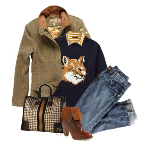 Fox Knitted-Wool Sweater Fall Outfit outfitspedia