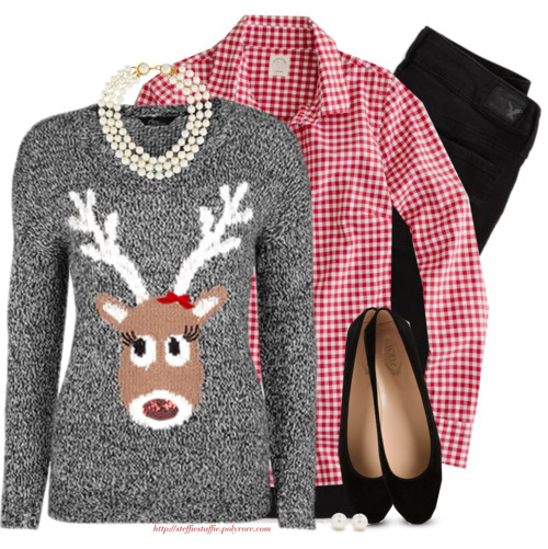 Gingham, Reindeer sweater & Pearls Fall Outfit outfitspedia