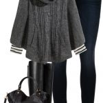 Gray Knit Poncho Fall Outfit