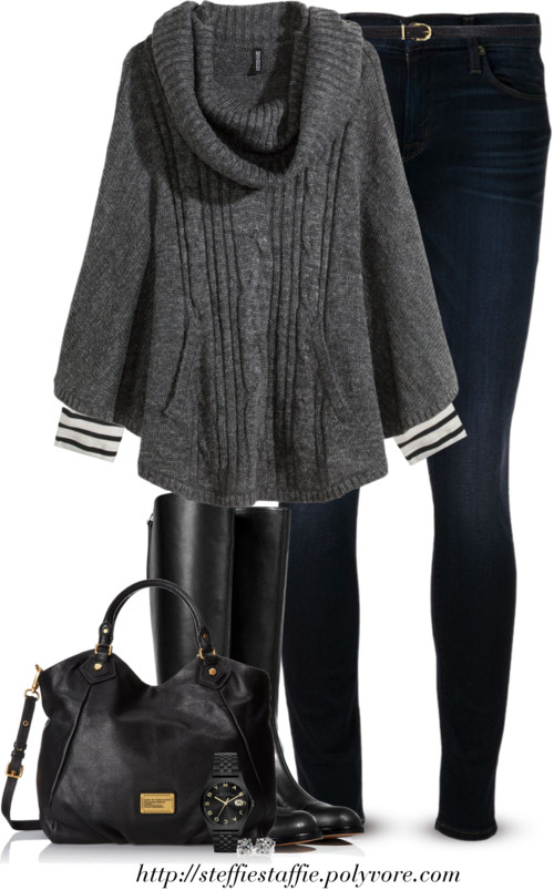 Gray Knit Poncho Fall Outfit outfitspedia