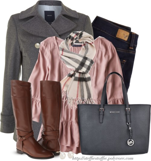Gray Pea coat , Tiered pink top & Plaid scarf Outfitspedia