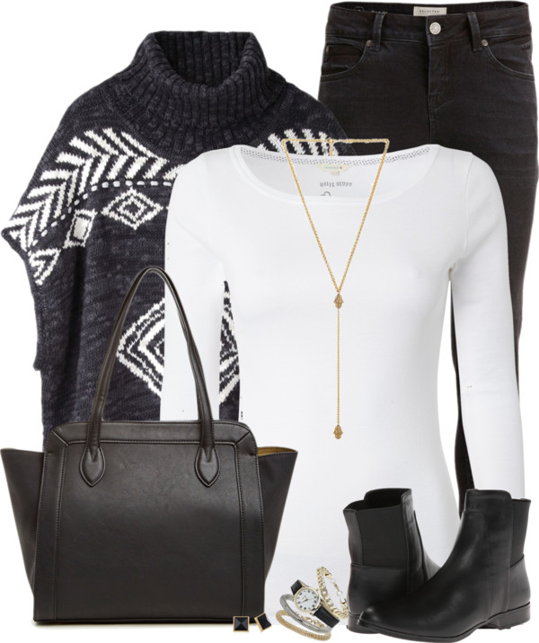 Hope Poncho Sweater Fall Outfit outfitspedia