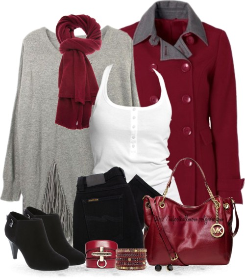 Hot Red Coat With Suede Bootine Fall Outfit outfitspedia