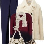 Ivory Faux Shearling Fleece Pea Coat Fall Outfit