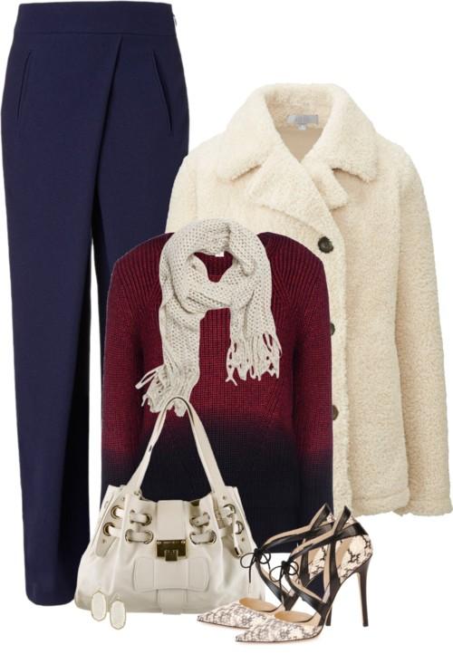 Ivory Faux Shearling Fleece Pea Coat Fall Outfit outfitspedia