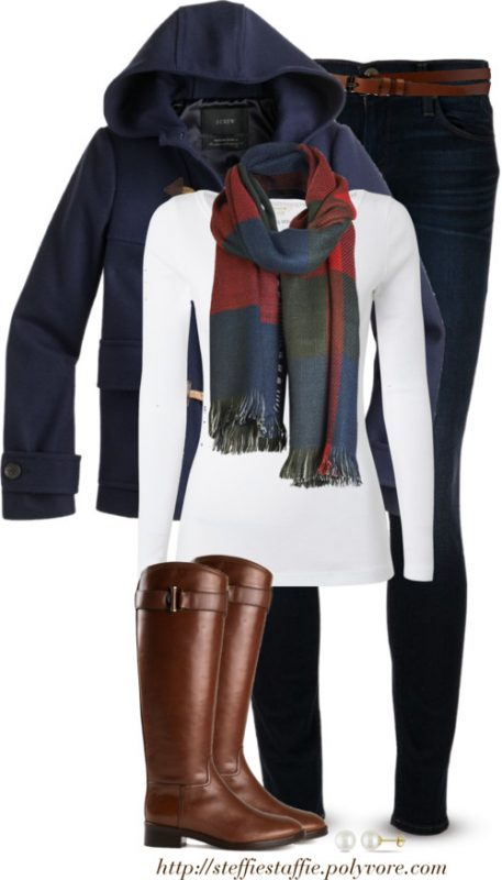 J.Crew duffle coat, Checked scarf & Riding boots Outfitspedia