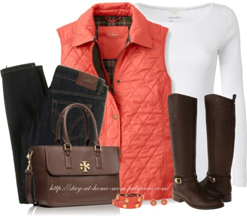 L.L.BEAN Quilted Vest Fall Outfit outfitspedia