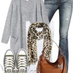 Leopard Pop Long Knitted Cardigan Fall Outfit