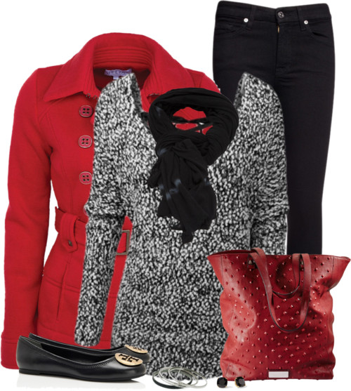Loose Fit Knit Sweater With Red Pea Coat Fall Outfit Outfitspedia