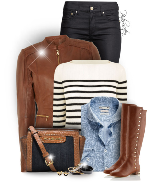 Matching Leather Boots & Leather Jacket Fall Outfit outfitspedia