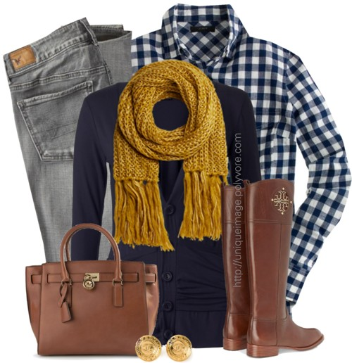 Navy Top, Mustard Scarf Fall Outfit