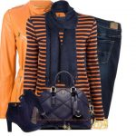 Navy and Orange Leather Jacket Vibrant Fall Outfit