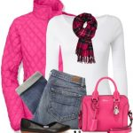 Neon Pink Quilted Jacket Fall Outfit