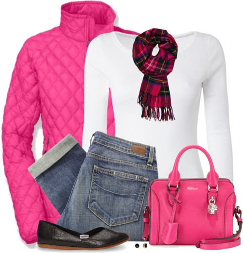 Neon Pink Quilted Jacket Fall Outfit outfitspedia