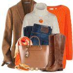 Orange Bright Fall Sweater Fall Outfit