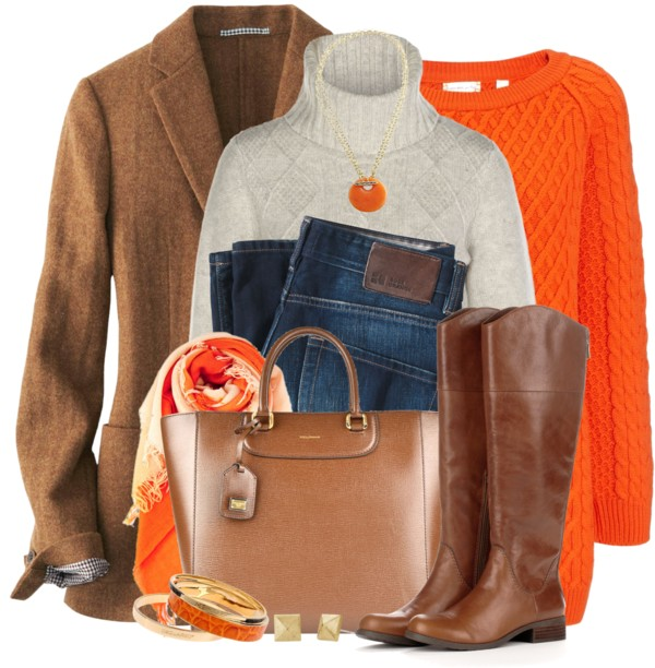 Orange Bright Fall Sweater Fall Outfit | Outfits Pedia