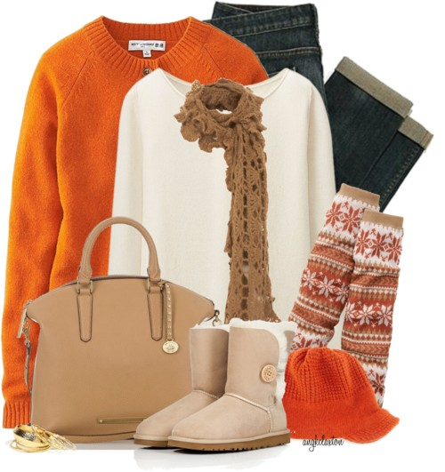 Orange Cozy Knit Cardigan Winter Outfit outfitspedia