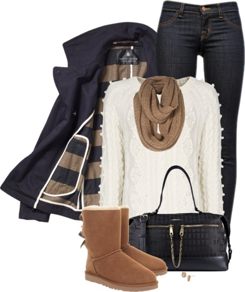 Pea Coat and Ugg Boots Fall Outfit outfitspedia